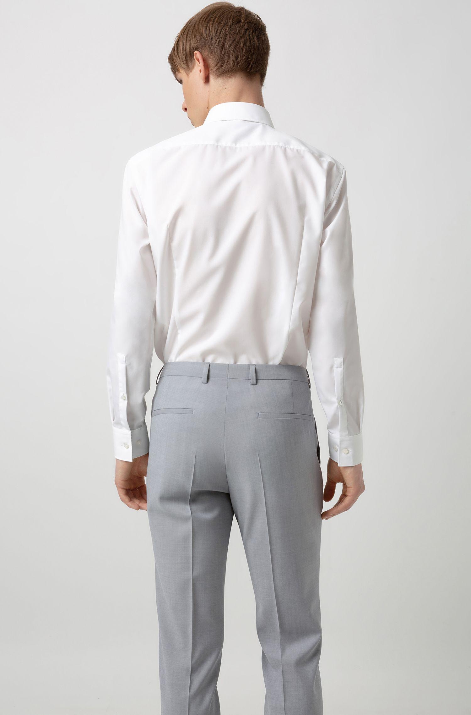 Extra-slim-fit three-piece suit in virgin wool, Light Grey