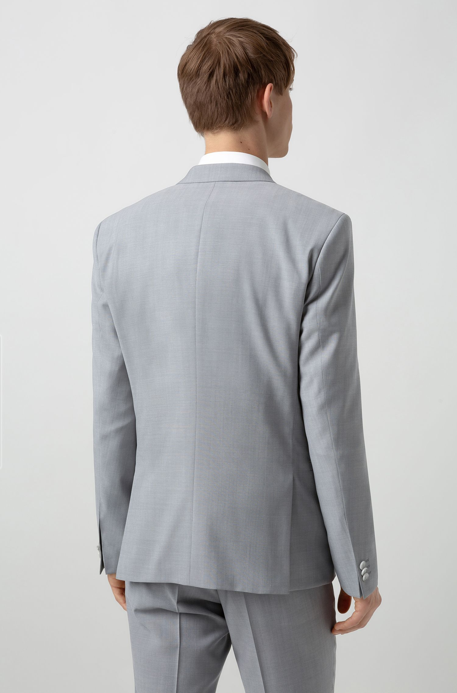 Driedelig extra slim-fit kostuum van scheerwol, Lichtgrijs