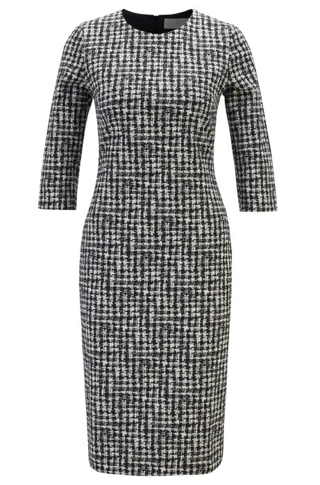 Regular-fit irregular-check dress in Italian fabric, Patterned