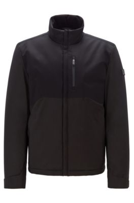 Wasserabweisende Link² Jacke mit charakteristischen Absteppungen, Schwarz