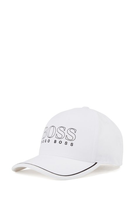 Cotton-blend cap with rubberised logo print, Natural