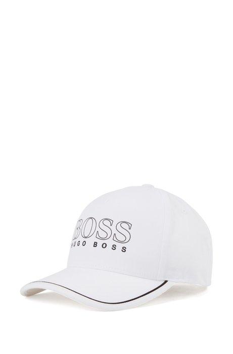 Cappellino in misto cotone con logo stampato gommato, Naturale