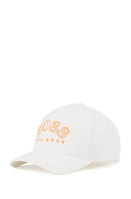 Double-twill cap with curved logo embroidery, White