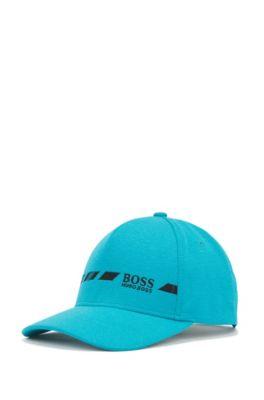 Melierte Cap mit Logo, kontrastfarbener Stickerei und S.Café®-Fasern, Blau
