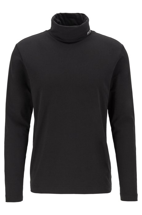 Long-sleeved T-shirt in stretch cotton with turtleneck, Black