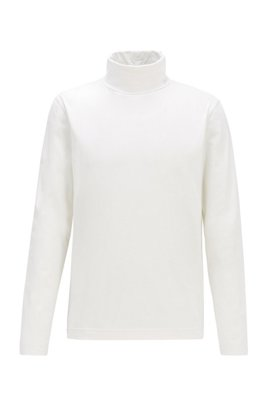 Camiseta de manga larga en algodón elástico con cuello alto, Blanco