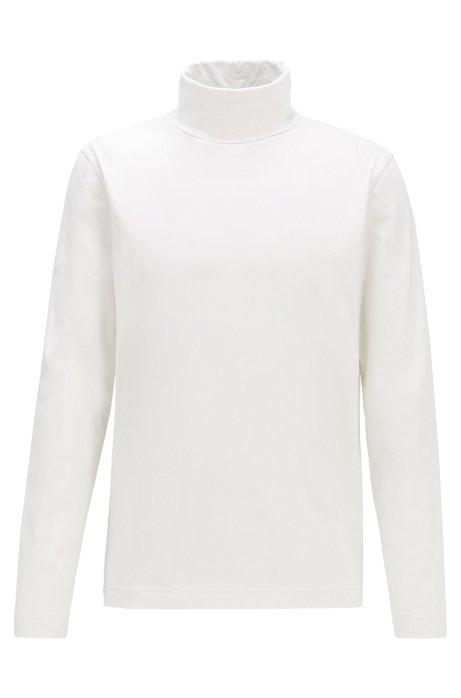 T-shirt en coton stretch à manches longues et col cheminée, Chair