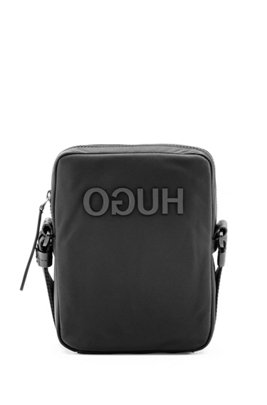 Reverse-logo reporter bag in nylon gabardine, Black