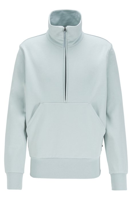 Sweat Relaxed Fit en molleton de coton, à fermeture éclair quart de longueur, Bleu vif