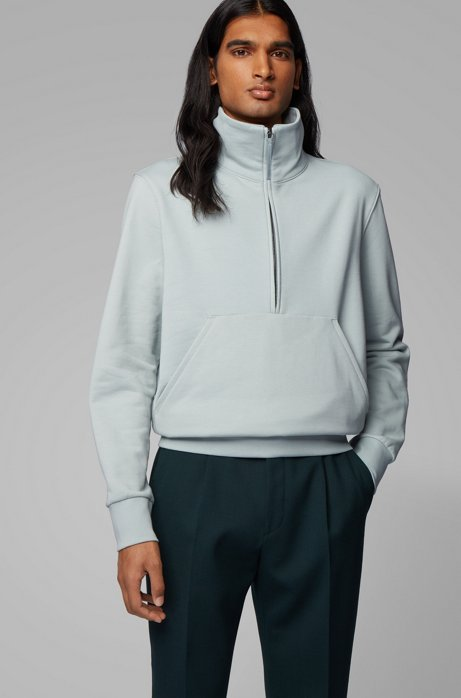 Relaxed-fit quarter-zip sweatshirt in cotton terry, Light Blue