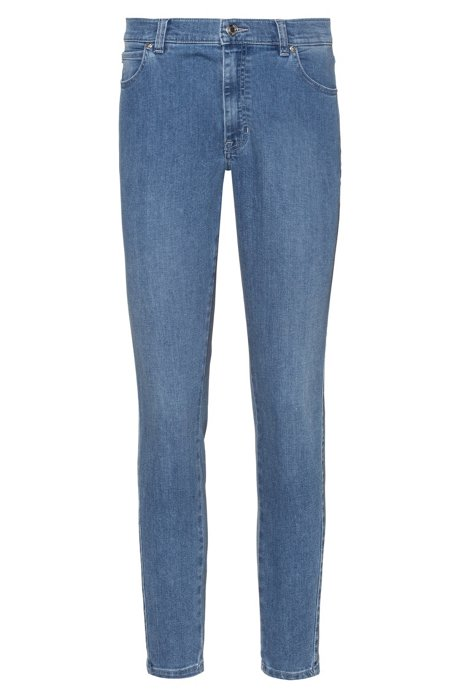 STELLA slim-fit jeans van comfortabel stretchdenim met omgekeerde naden, Lichtblauw