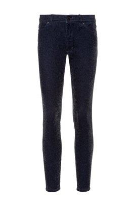 LOU Skinny-Fit Jeans aus glitzerndem Cordsamt, Schwarz