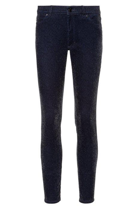 Jeans skinny fit LOU in velluto a coste con effetto brillante, Nero