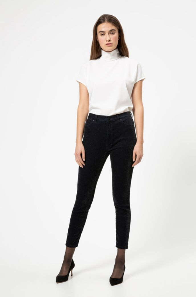 Jeans skinny fit LOU in velluto a coste con effetto brillante
