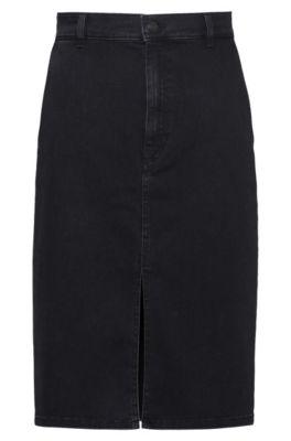 Dark-grey stretch denim pencil skirt with front slit, Dark Grey