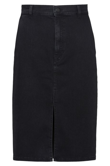 Dark-grey stretch denim pencil skirt with front slit, Dark Grey
