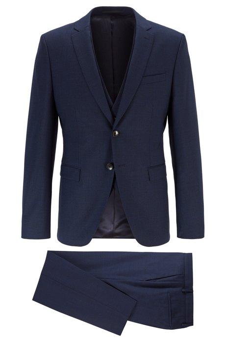 Extra-slim-fit three-piece suit in virgin-wool, Dark Blue