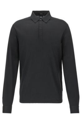 Regular-Fit-Poloshirt mit schimmerndem Kragen, Schwarz