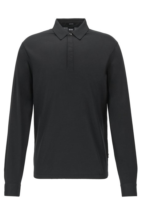 Polo regular fit con colletto lucido, Nero