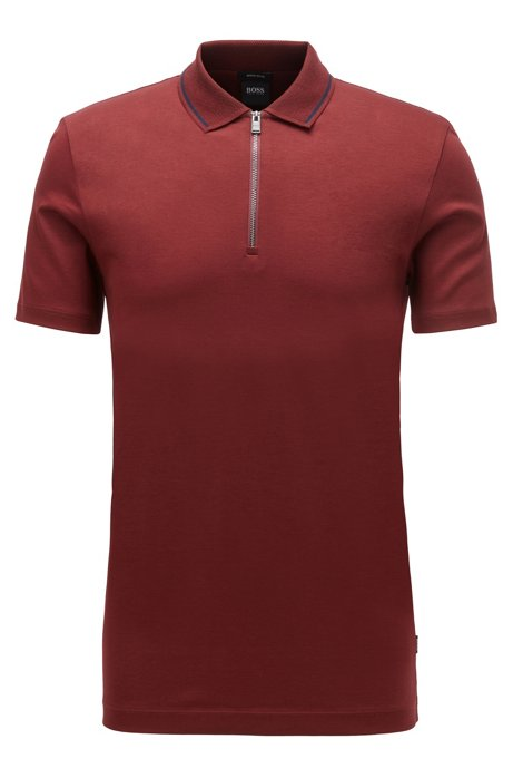 Regular-fit polo shirt in interlock cotton, Dark Red