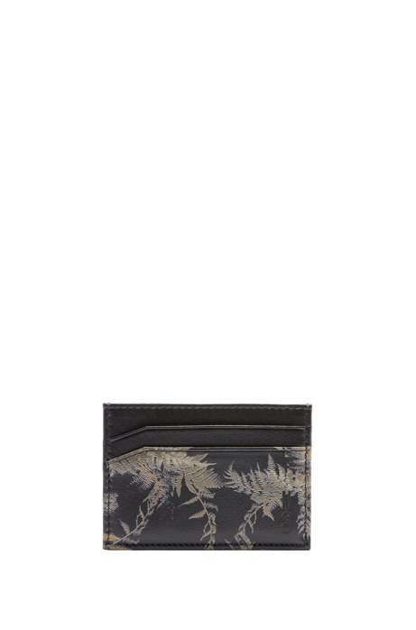 Card holder in leather with seasonal print, Patterned