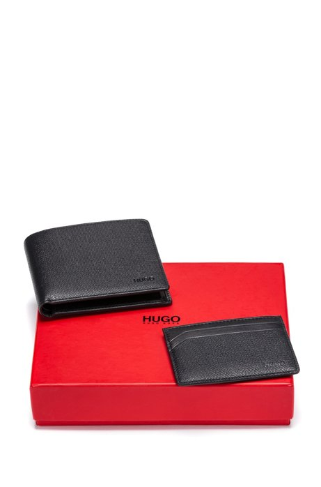 Printed leather wallet and card holder gift set, Black