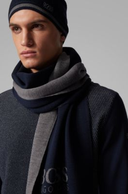 Boss Hugo Boss Mens Navy Blue Wool Scarf