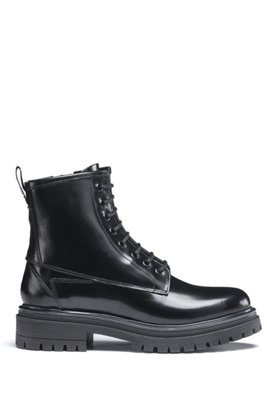 Lace-up ankle boots in lustrous Italian leather, Black