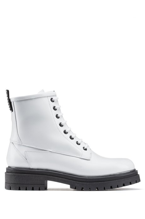 Lace-up ankle boots in lustrous Italian leather, White