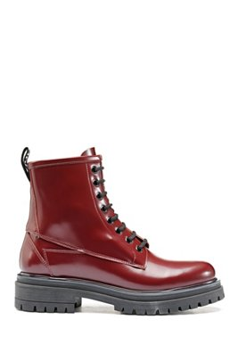 Lace-up ankle boots in lustrous Italian leather, Red