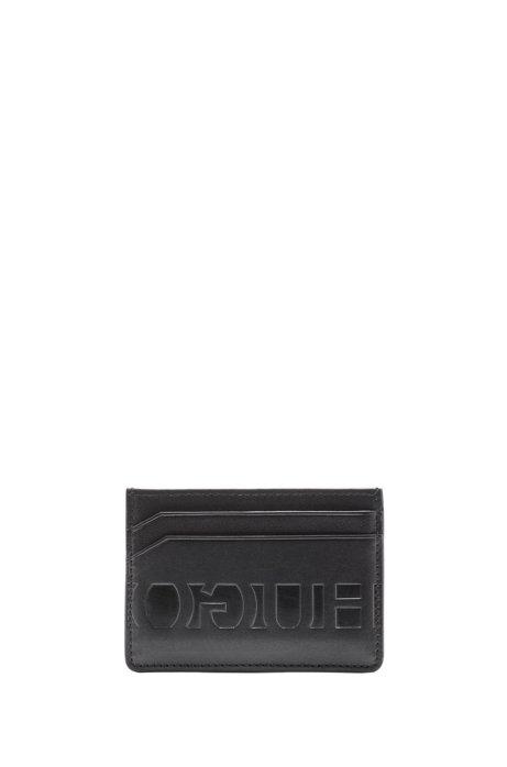 Reverse-logo card case and money clip gift set, Black