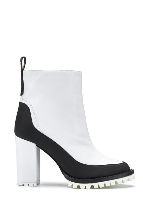 Block-heel booties in nappa leather with rubber-lug sole, White