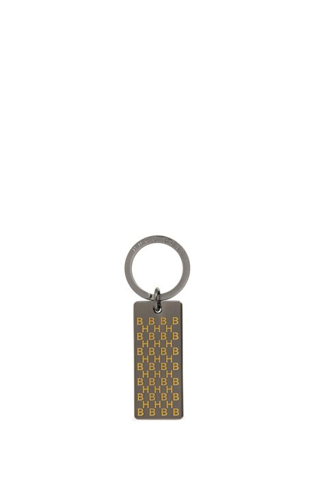 Key ring in brushed metal with coloured-enamel monograms, Yellow
