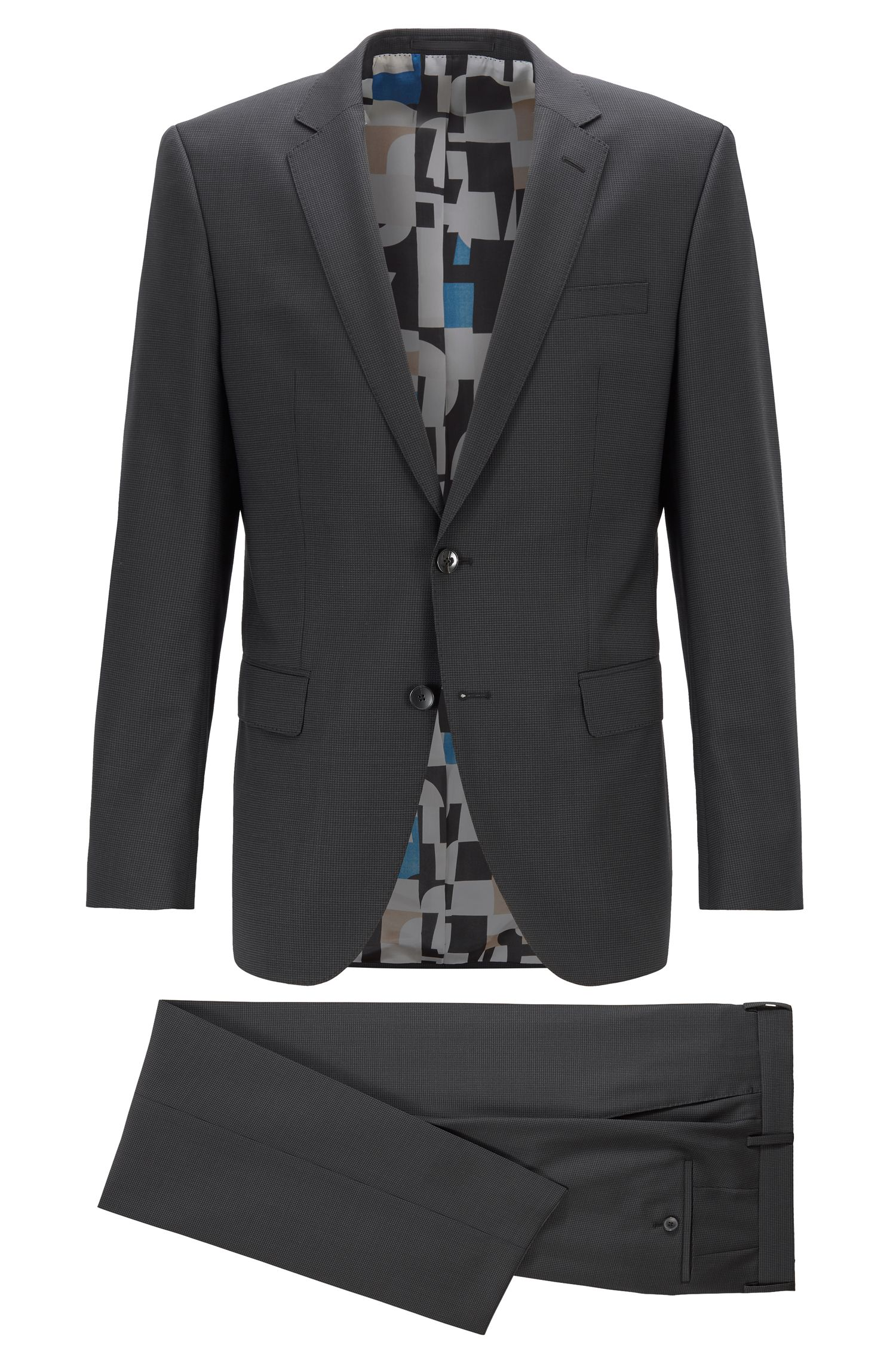 Slim-fit suit in micro-patterned virgin-wool serge, Black