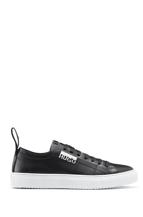 Low-profile trainers in Italian leather with logo hardware, Black