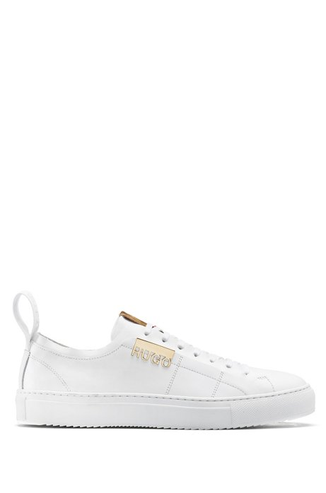 Low-profile trainers in Italian leather with logo hardware, White