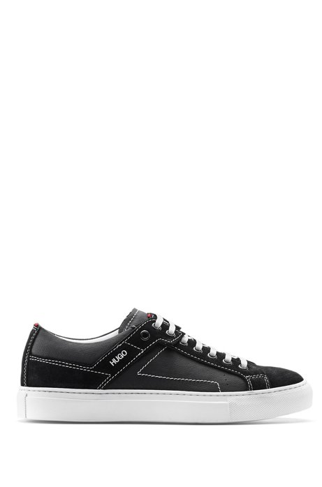Sneakers aus weichem italienischem Veloursspaltleder, Schwarz