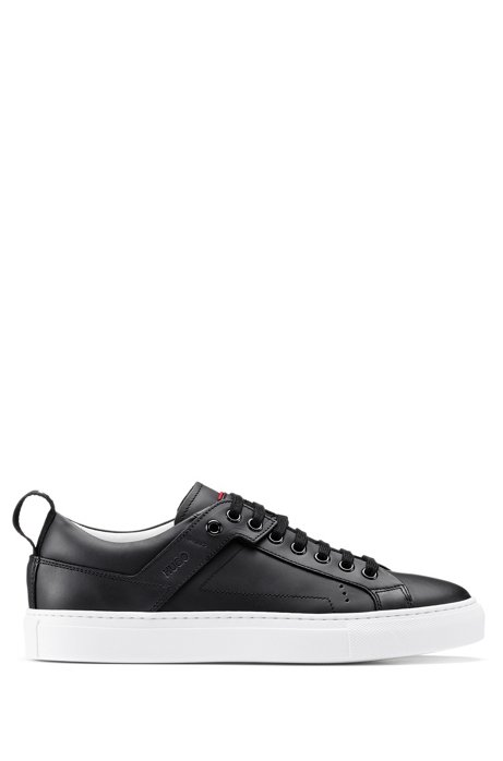 Lace-up trainers in Italian leather with logo tape, Black