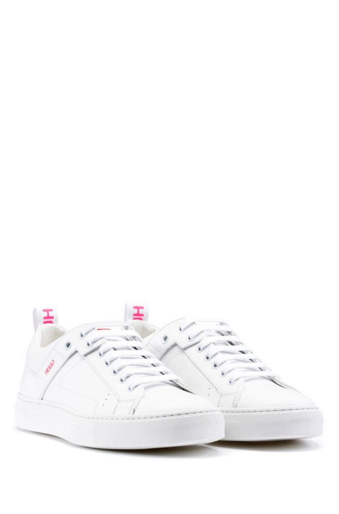 Lace-up trainers in Italian leather with logo tape