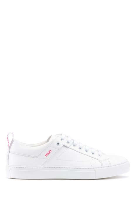 Lace-up trainers in Italian leather with logo tape, White