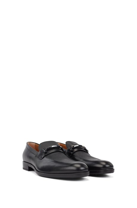 Italian-made loafers in embossed calf leather , Black
