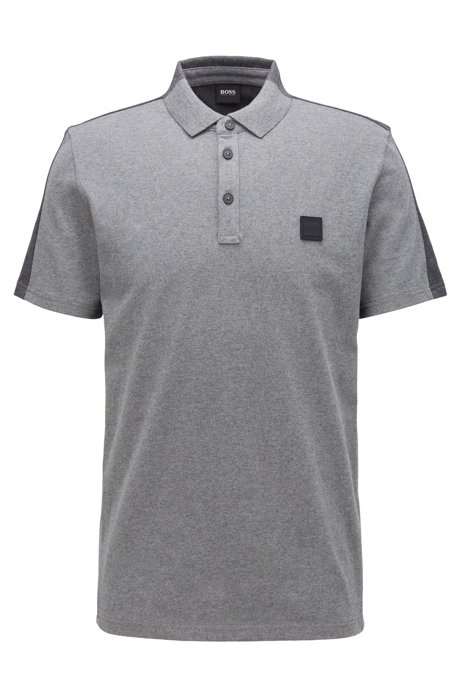 Colour-block polo shirt in peached cotton jersey, Grey