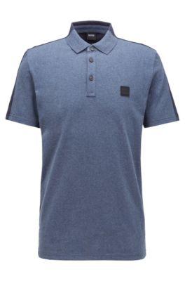 Poloshirt aus angerautem Baumwoll-Jersey in Colour-Block-Optik, Dunkelblau