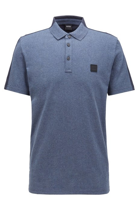 Colour-block polo shirt in peached cotton jersey, Dark Blue