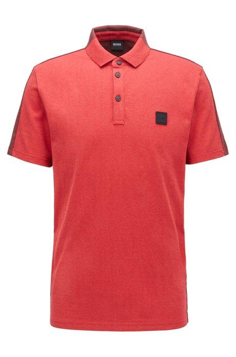 Colour-block polo shirt in peached cotton jersey, Red