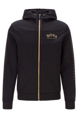 Sudadera con capucha y cremallera integral en mezcla de algodón con logo curvado, Negro