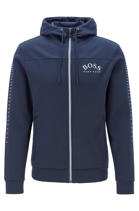Cotton-blend zip-through hoodie with curved logo, Dark Blue