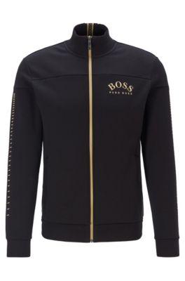 Sweat zippé à logo incurvé et détails métallisés, Noir