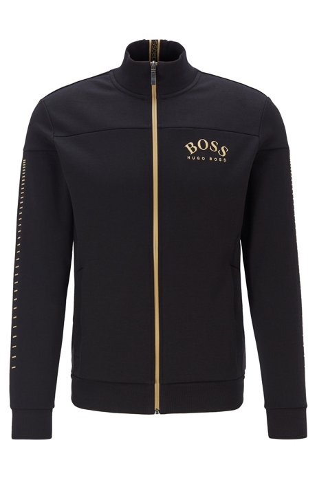 Zip-through sweatshirt with curved logo and metallic accents, Black