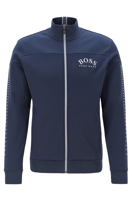 Zip-through sweatshirt with curved logo and metallic accents, Dark Blue